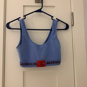 Red and blue unpadded Calvin Klein sports bra